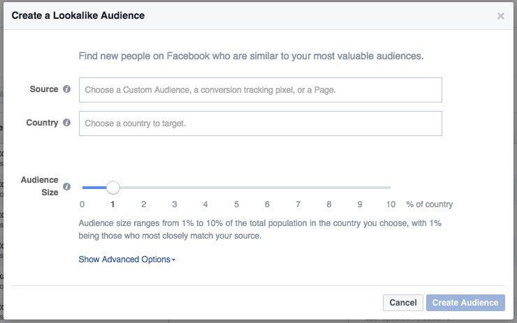 Screenshot of creating a Lookalike Audience in Facebook's Ad Manager