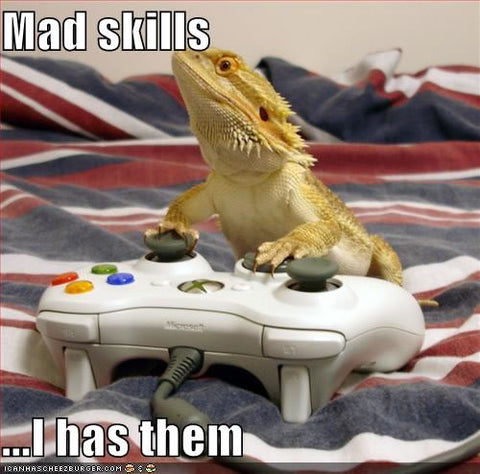 "Gecko playing with an Xbox 360 controller: ""Mad Skills: I has them"""