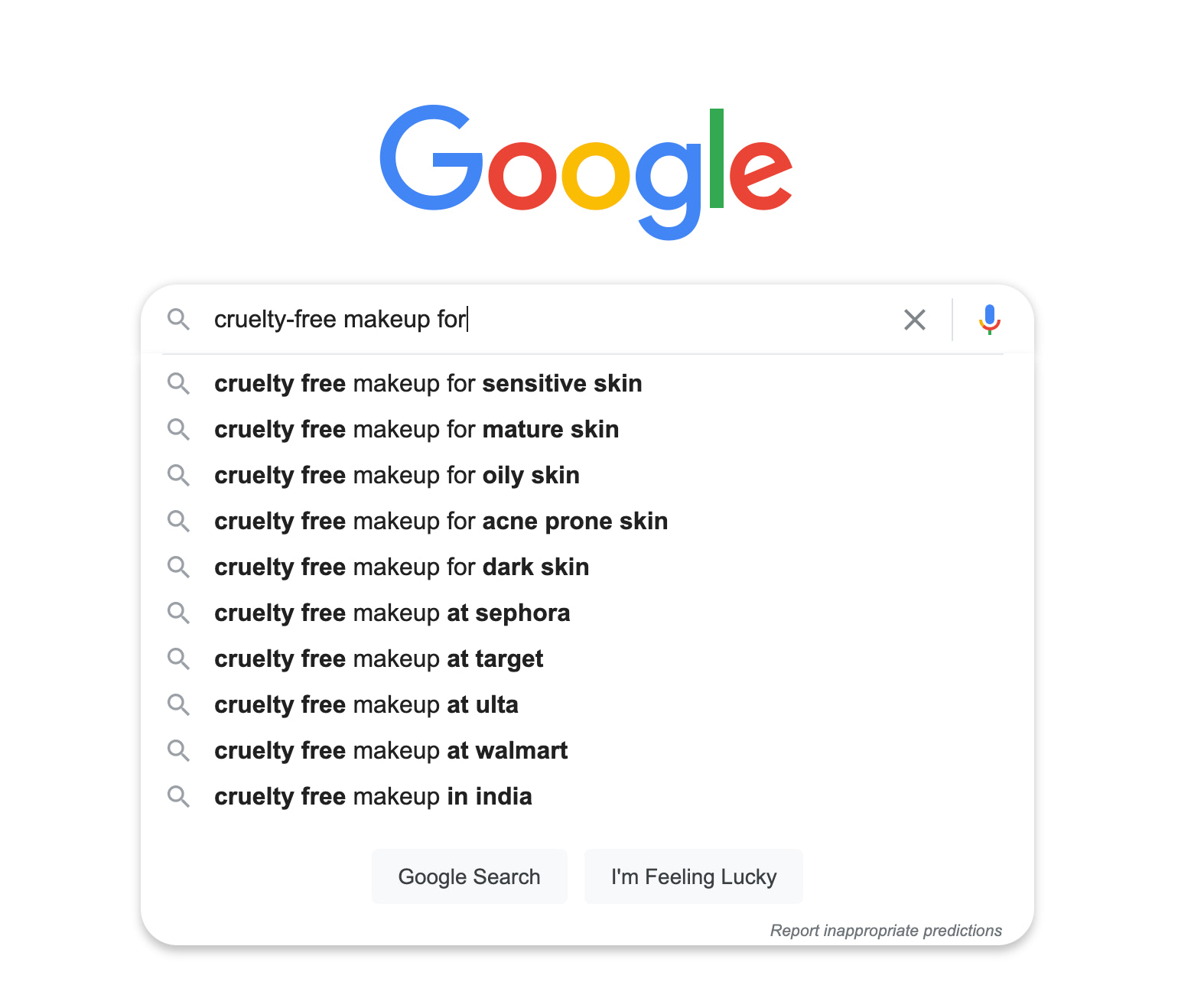 Google search for cruelty free makeup