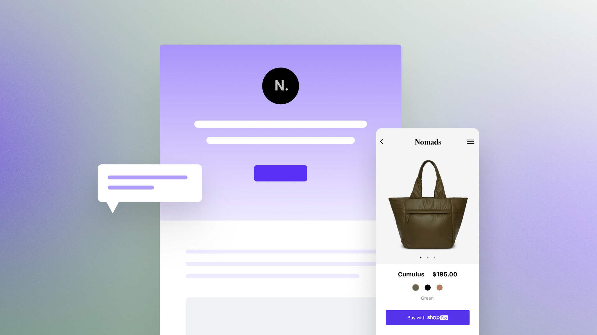 Product layout with image of a purse from the Shop app