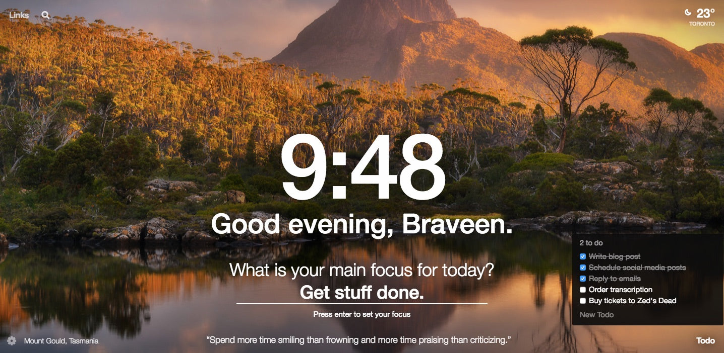 Google chrome themes quotes - Momentum The Best New Tab You Ll Ever Open