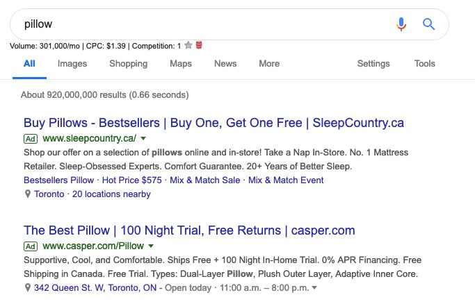 google ads non-branded search example
