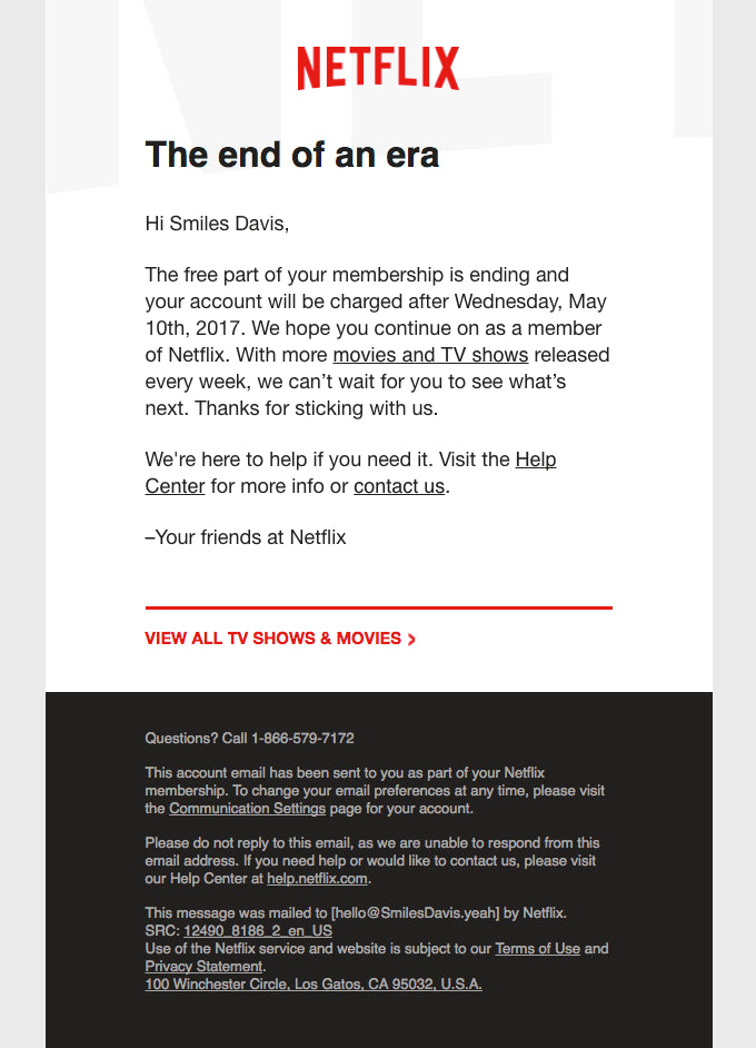 End of trial email campaign