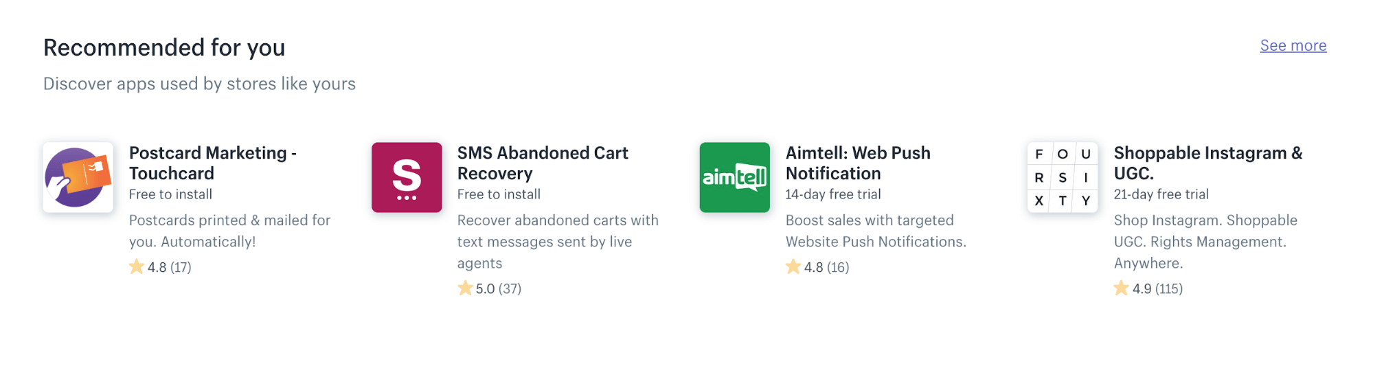 smarter app recommendations in the shopify app store