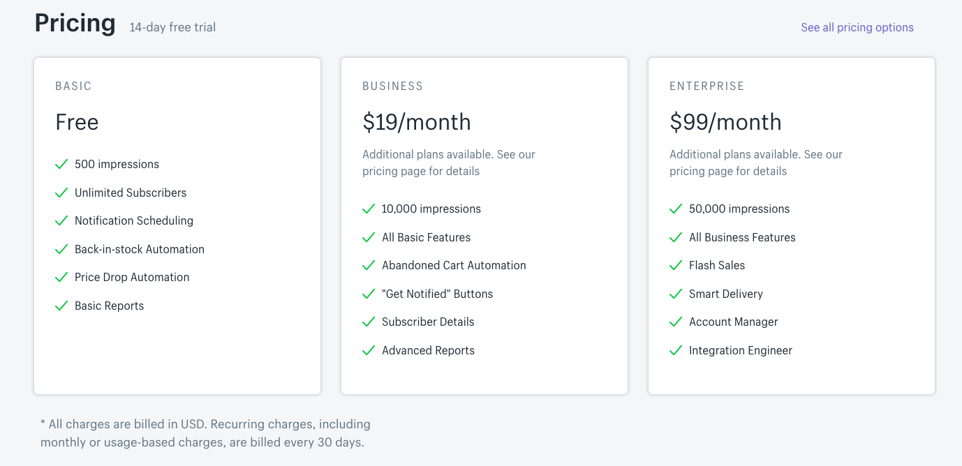 shopify app store transparent pricing