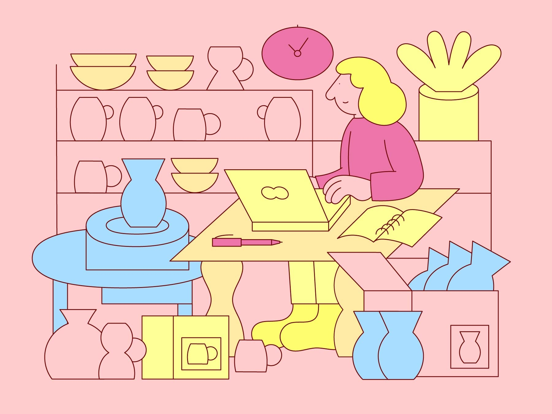 Illustration of a woman working at her desk on her online business