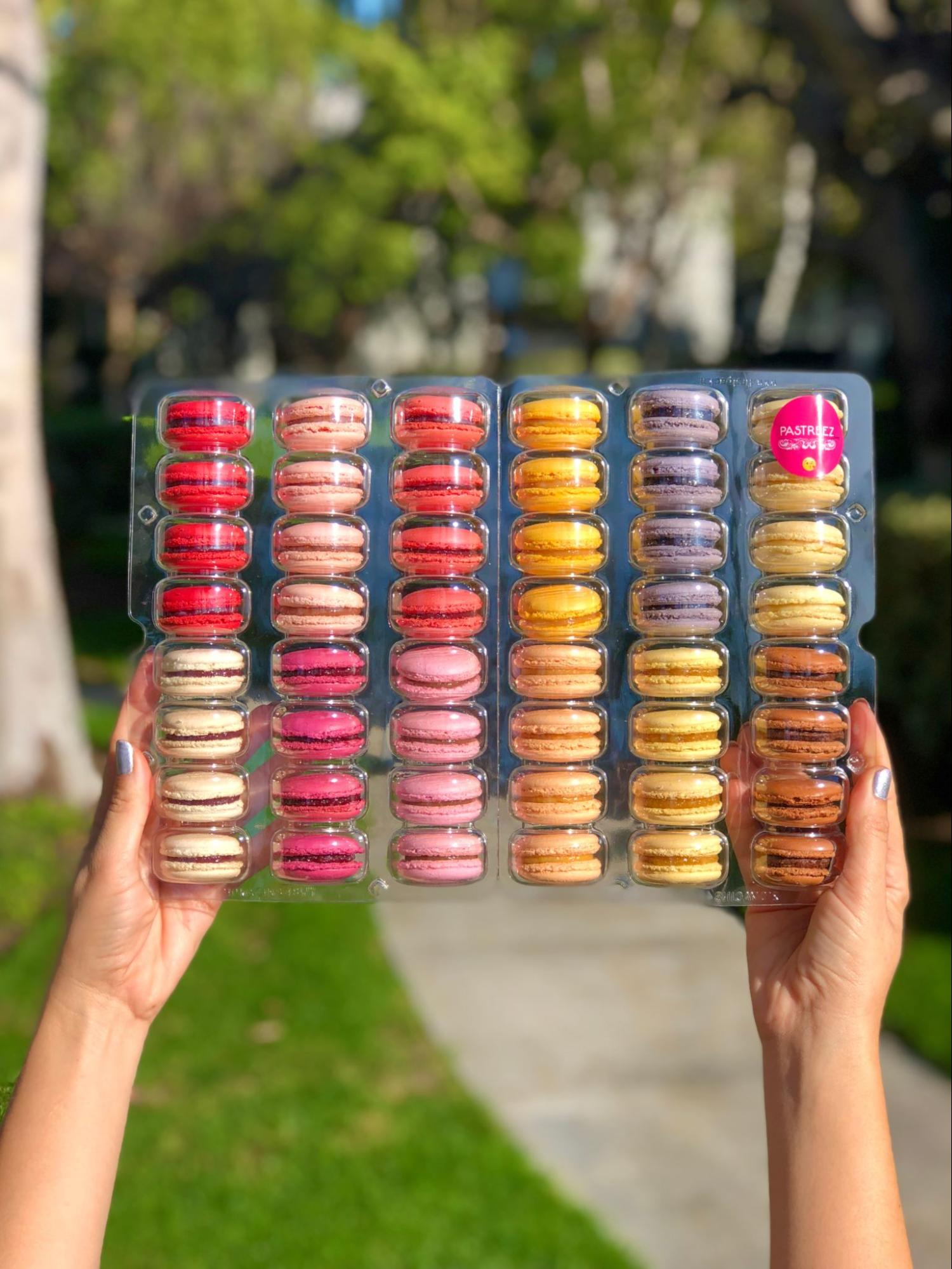 A box of 48 macaroons made by Pastreez.