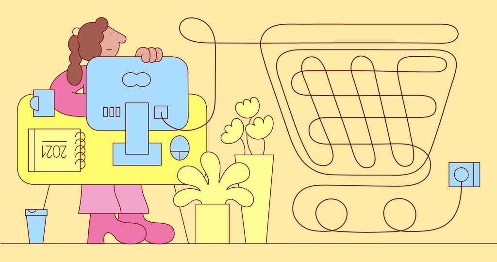 Illustration of a woman at her desk. Her powercord creates the shape of a shopping cart to illustrate starting an online business.