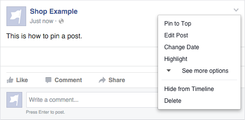 Step 4: Pin a post announcing the sale