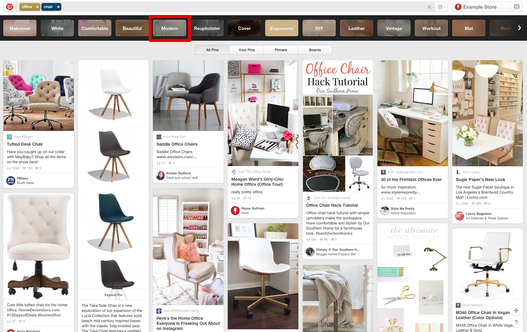 pinterest guided search modern chairs