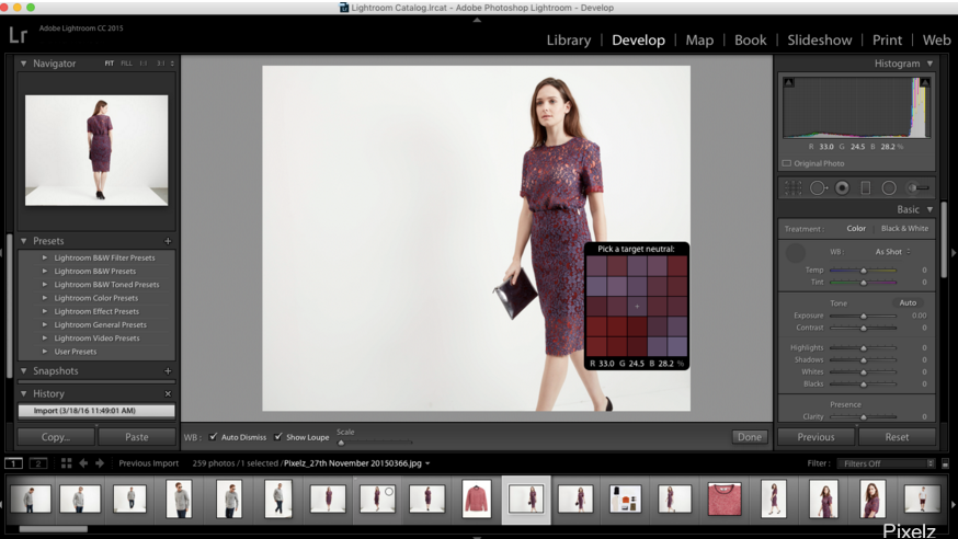 Screenshot of working in Adobe Lightroom