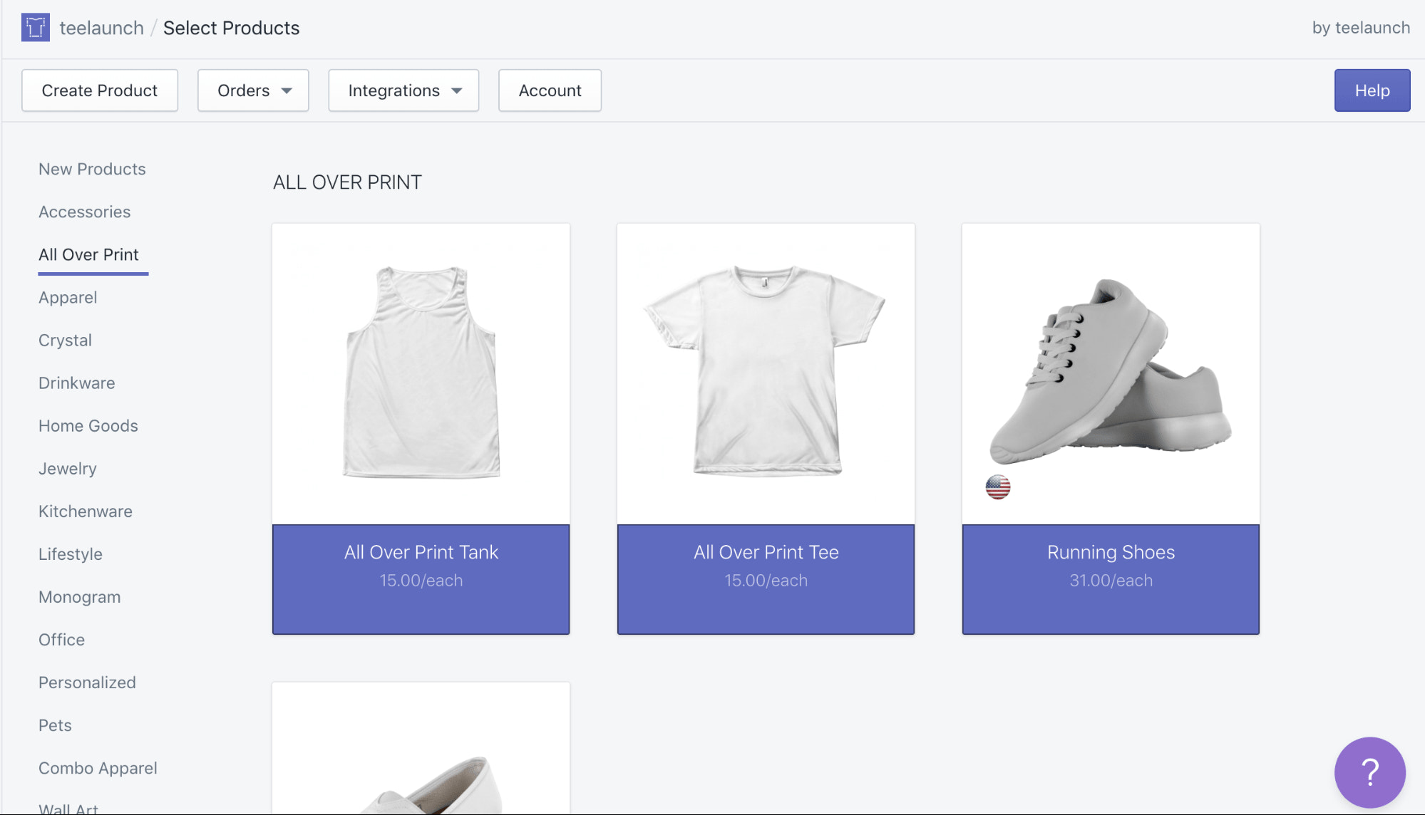 teelaunch print on demand products