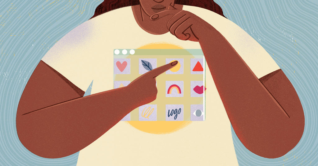 Illustration of a person choosing a print on demand shirt from a logo printed on their t-shirt representing all the choices you have for manufacturing