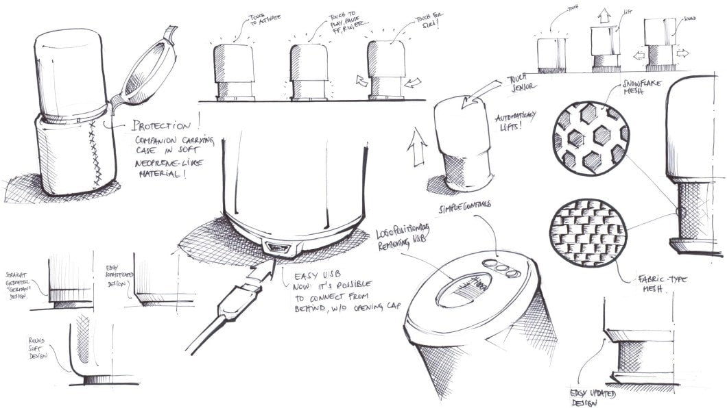 product development sketches for hidden radio
