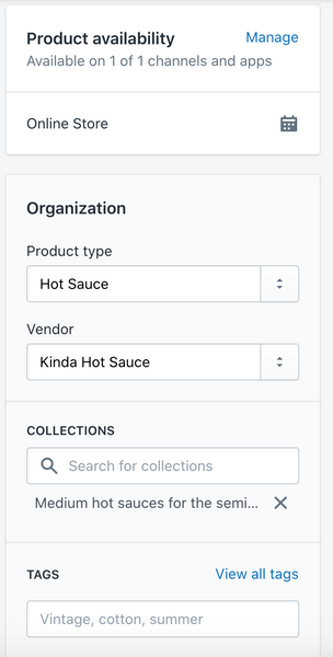 product organization settings in shopify