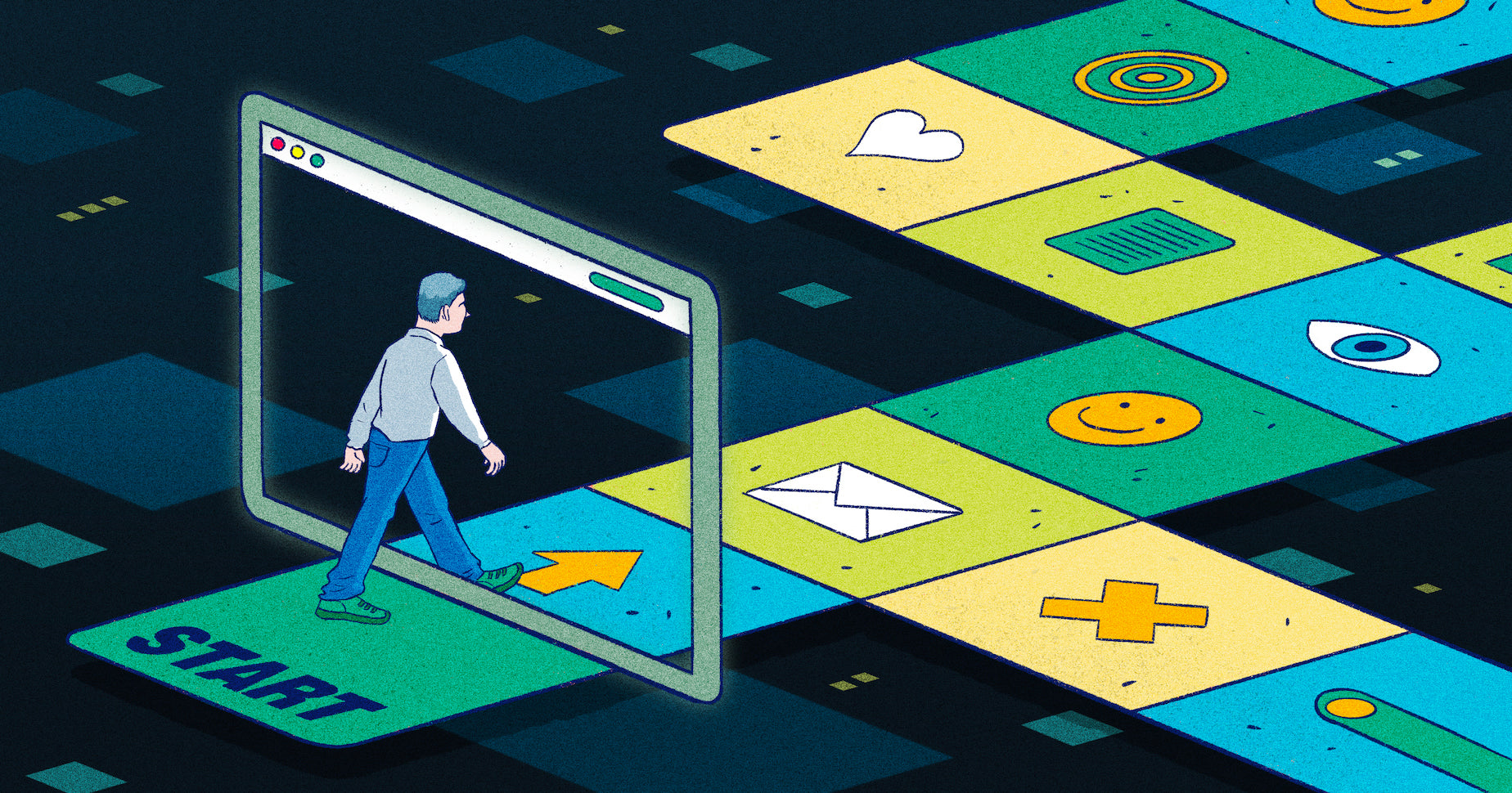 Illustration of a customer walking through a virtual board game, with each square representing a part of the product page experience