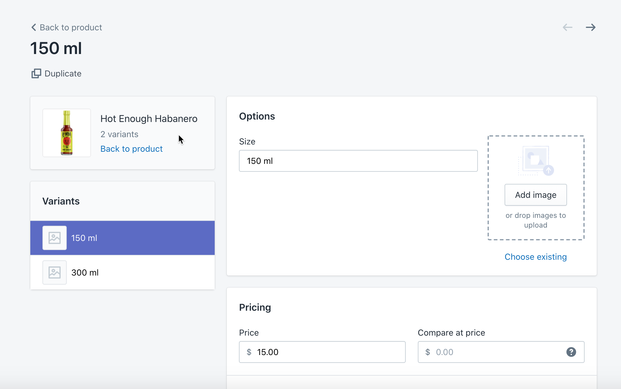 product variant settings in shopify