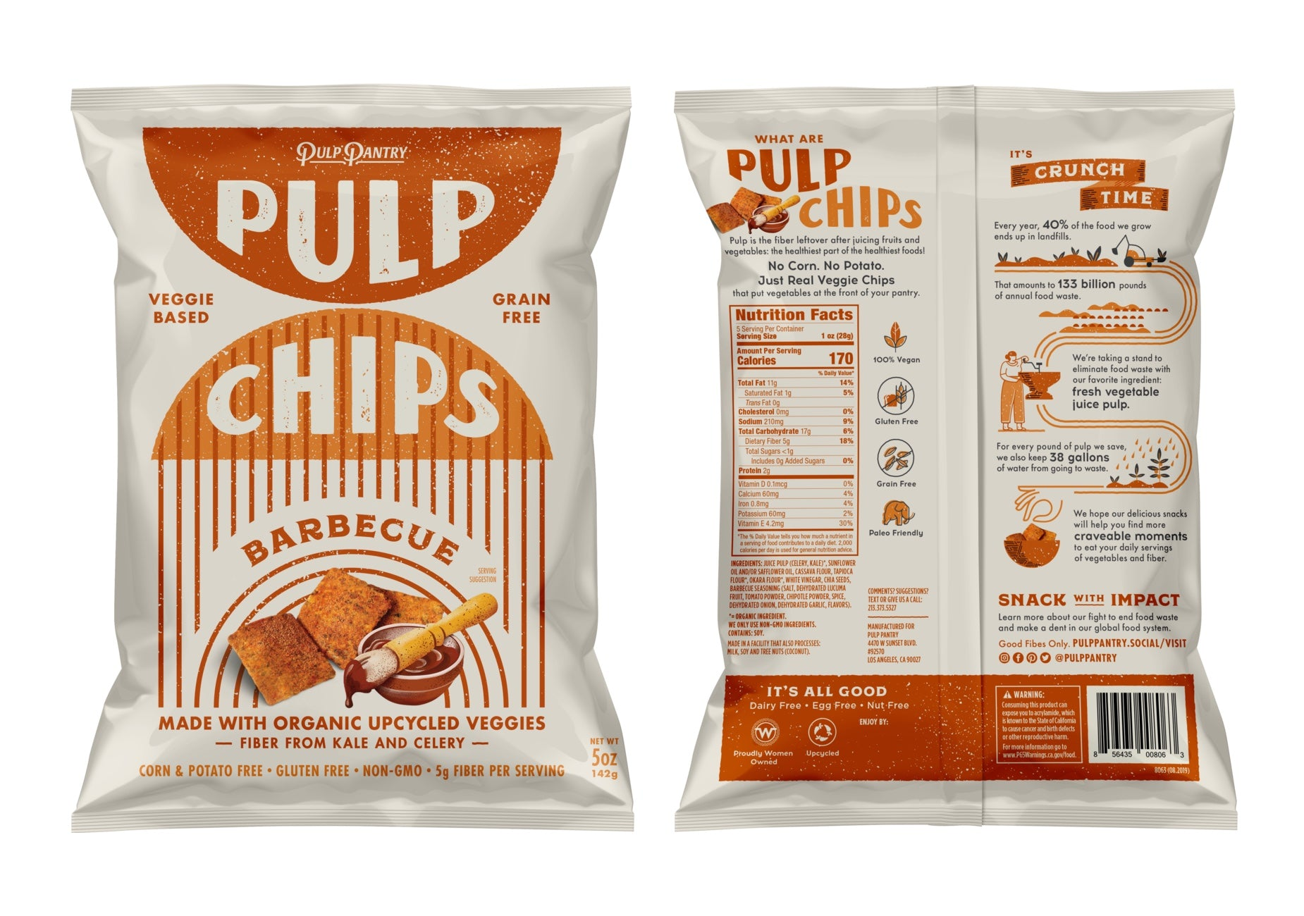 Detailed image of Pulp Chips packaging, front and back of the bag