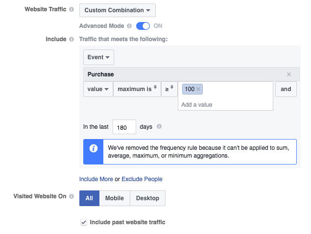 Screenshot of Facebook Ads targeting for website custom audience with low purchase value
