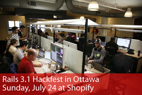 Rails 3.1 Hackfest in Ottawa / Sunday, July 24 at Shopify: Photo of hackfest taking place in the Shopify office.