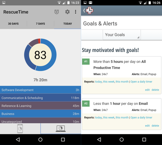 rescuetime time management app
