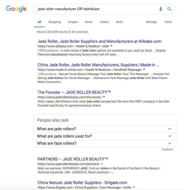 Use Google to help find a manufacturer for specific products