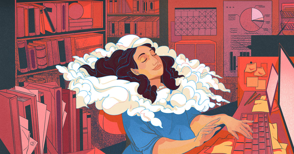 Illustration of a woman leaning back into a sea of clouds at her desk, representing the importance of self-care for entrepreneurs