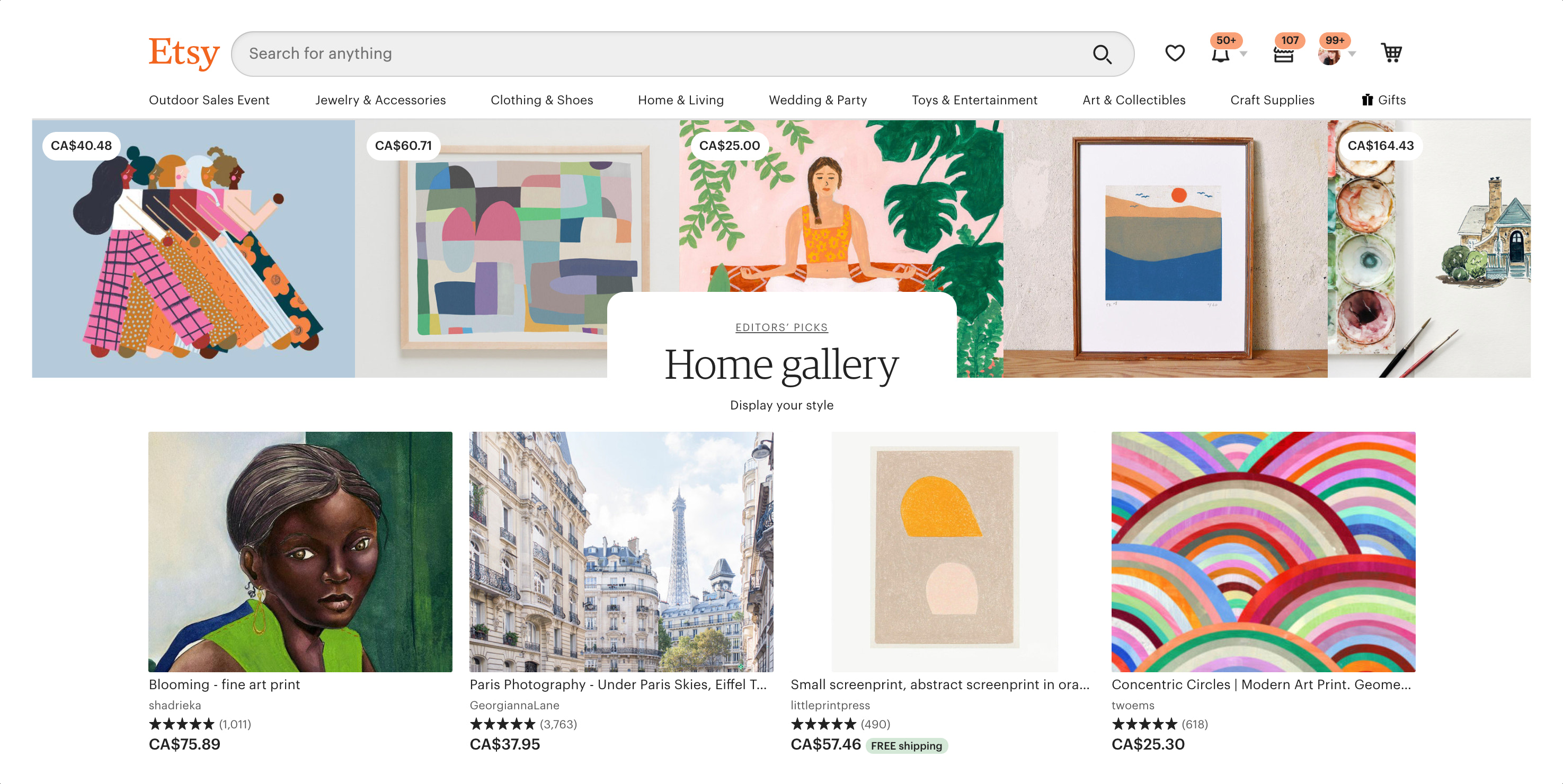 Etsy marketplace curated art page