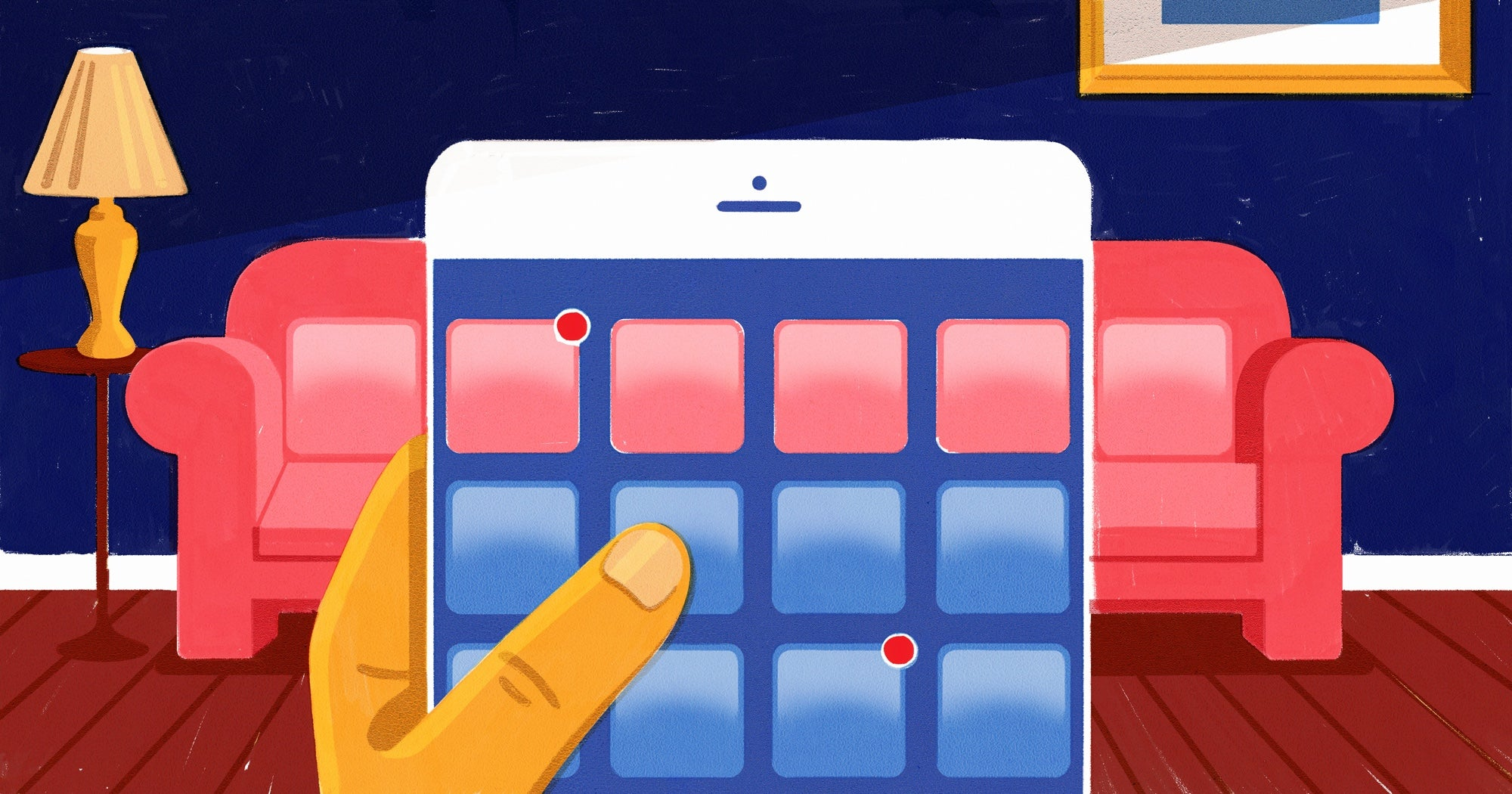 Illustration of a person shopping for furniture online: close up of hand holding a phone. App icons mimic the appearance of pillows on a couch in the background