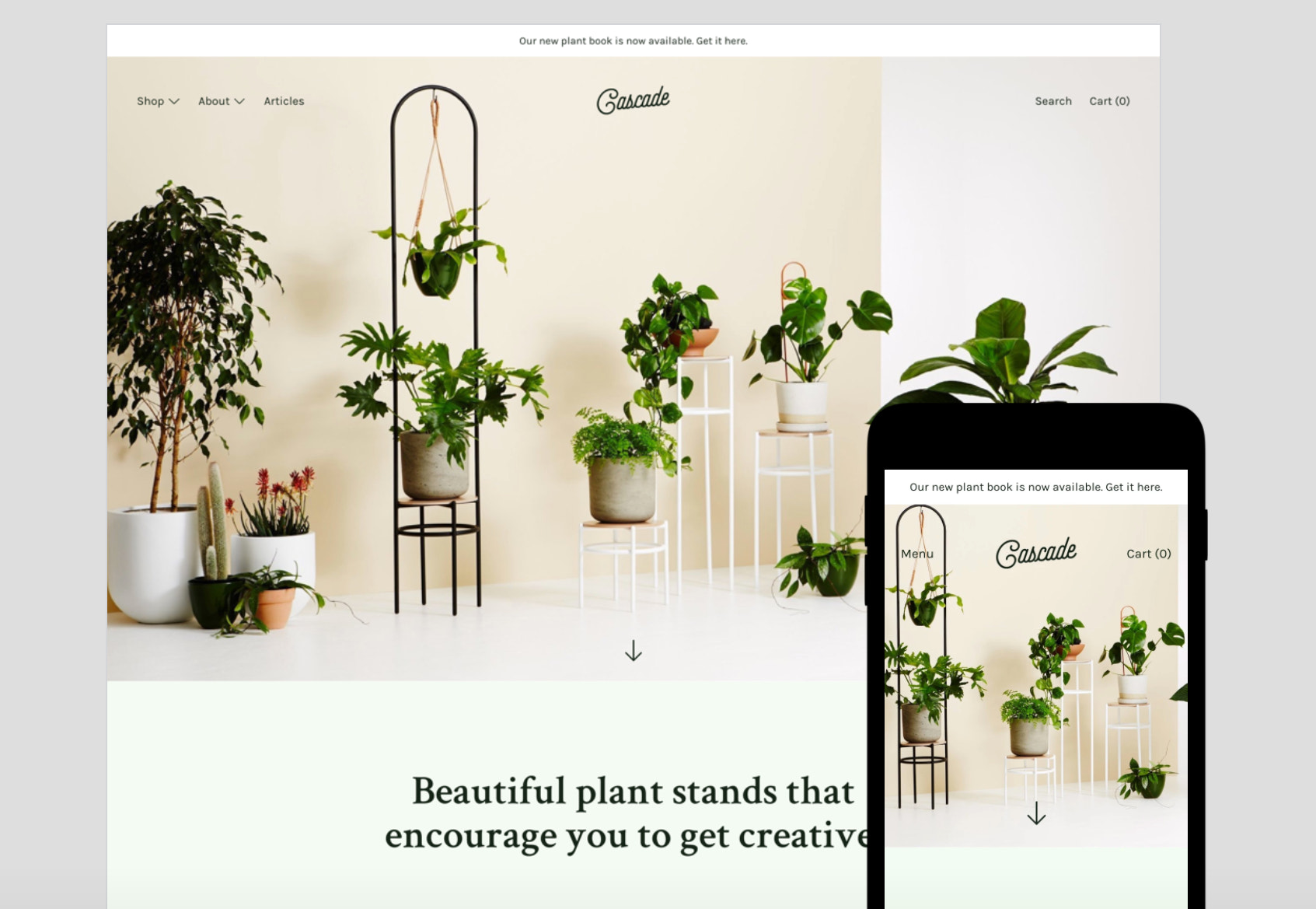 Example of Cascade Shopify theme applied to a sample store