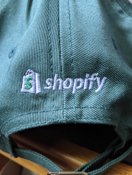shopify logo embroidery error on a dad hat sample