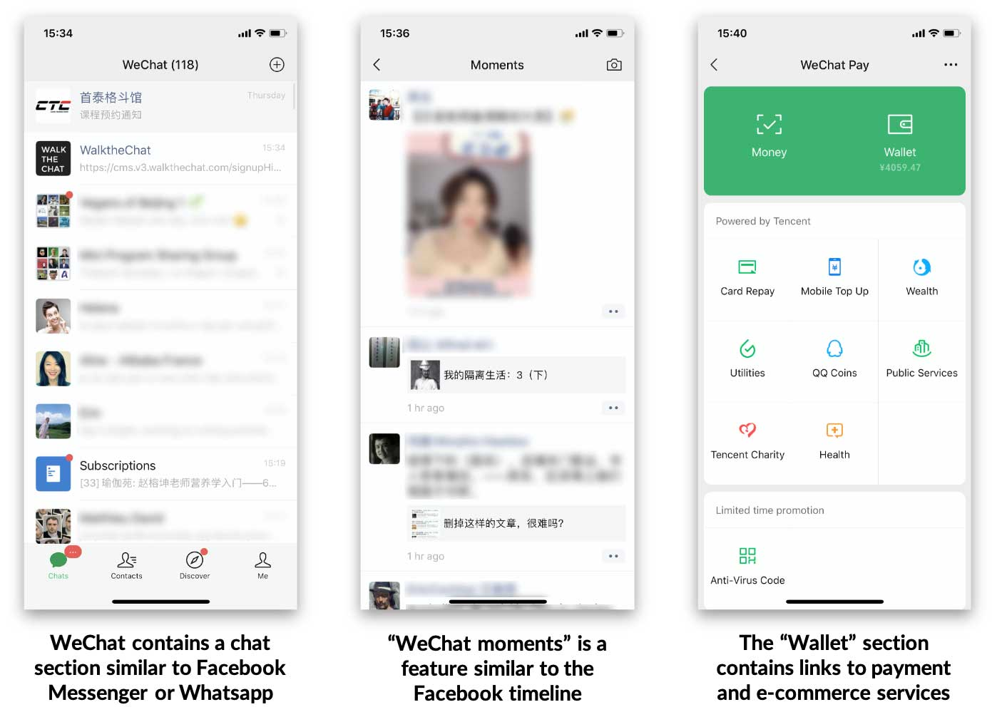 wechat chat, moments, and wallet
