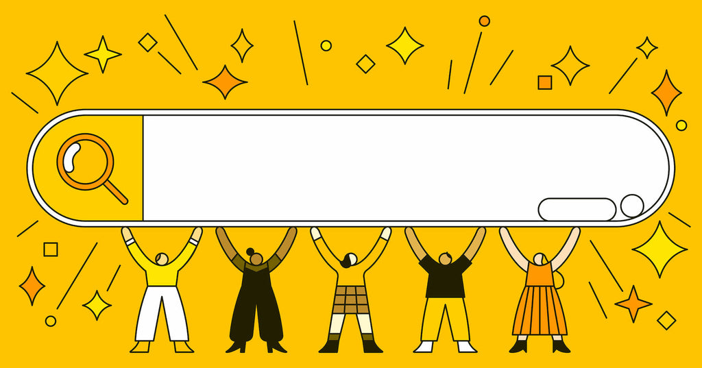 An illustration of a group of characters holding up a search engine's search bar in celebration as they have conquered their learning curve on SEO marketing