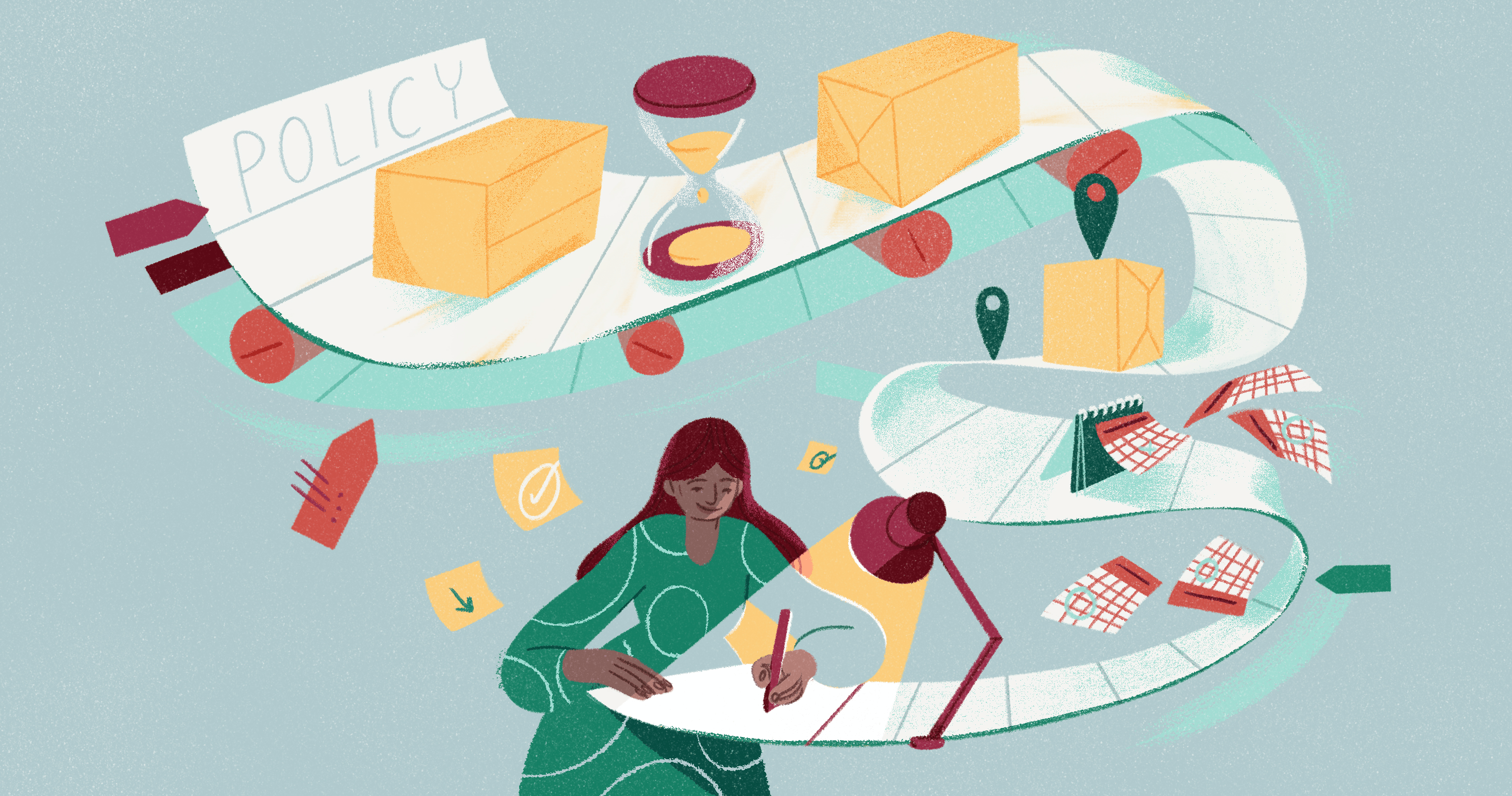 illustration depicting a woman writing a shipping policy for her business with the page flowing with the various considerations she needs to cover