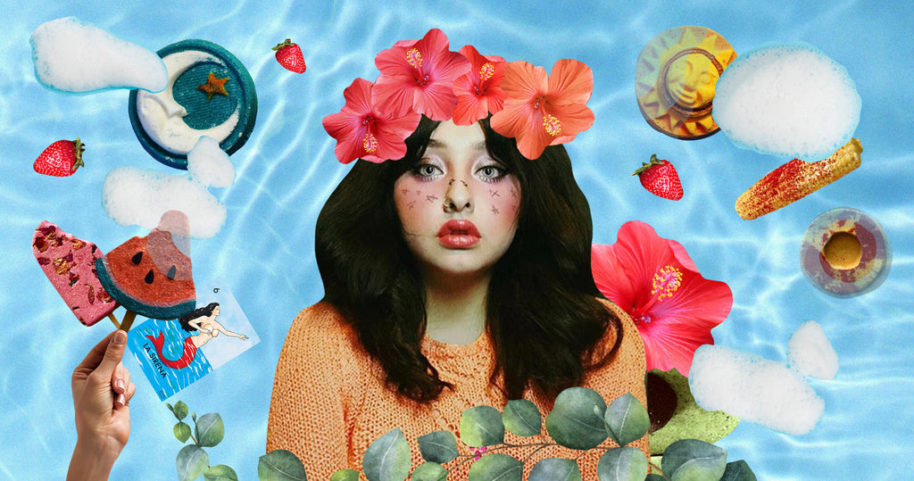 Photo collage of Brewbles Founder Estefania Rodriguez. Surrounding her are images of her bath bombs including a sun and moon, a watermelon and popsicle. Catheryn has a flower crown and a eucalyptus along the bottom of her portrait.