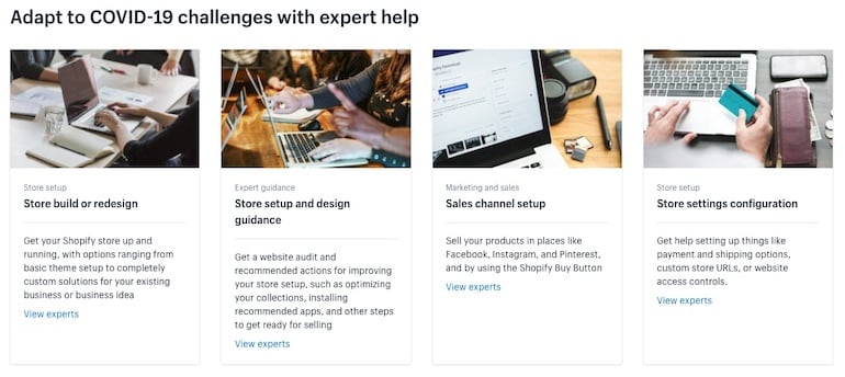shopify experts marketplace: covid collection