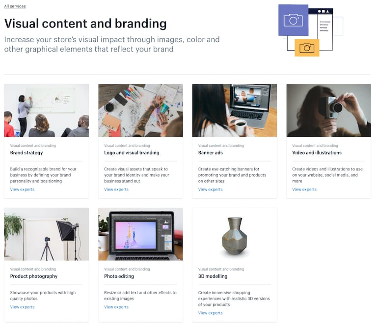 shopify experts marketplace: visual content and branding