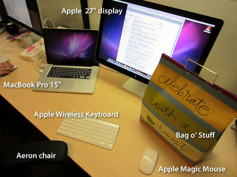 "Standard issue Shopify gear: MacBook Pro 15"", Apple 27"" display, Apple wireless keyboard, Apple Magic Mouse, Aeron chair"