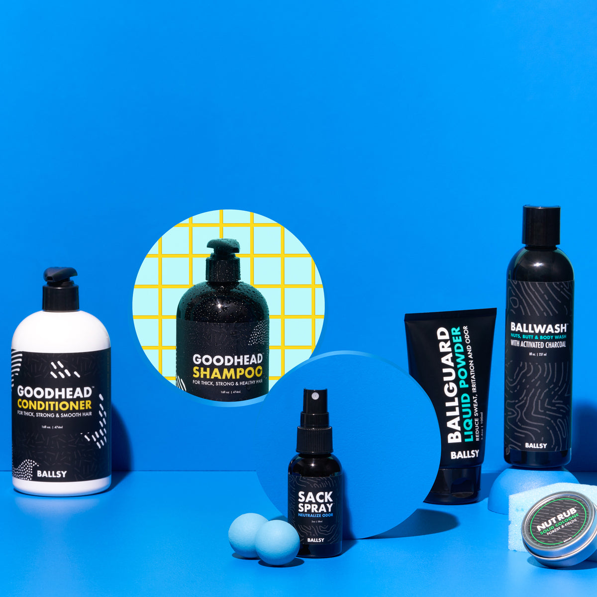 An array of personal care items from Ballsy displayed against a blue background.