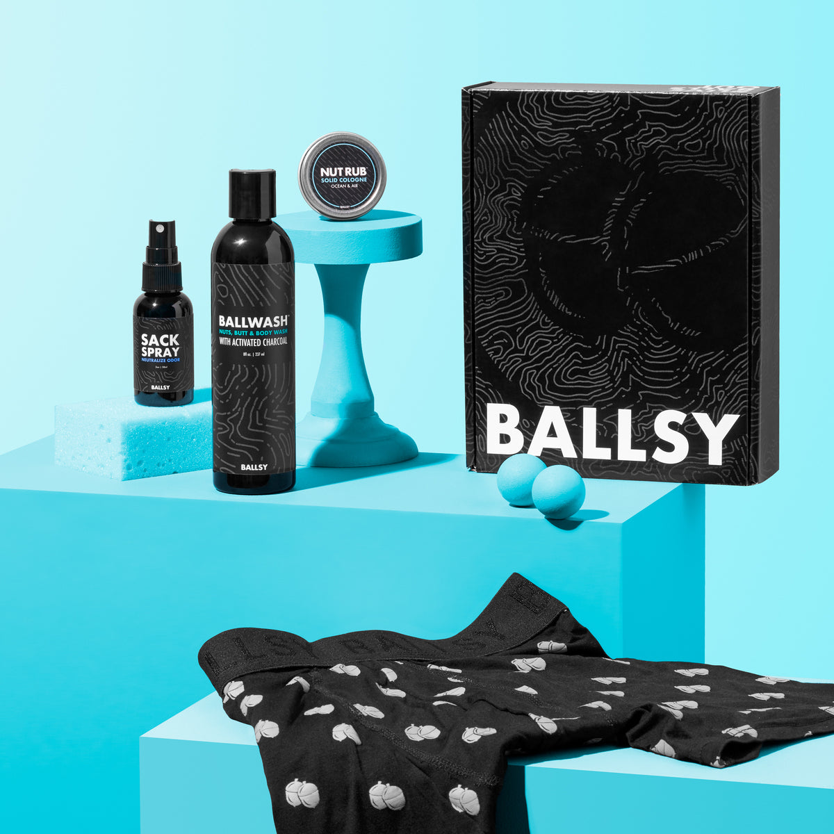 A set of personal care items from Ballsy along with a pair of underwear.