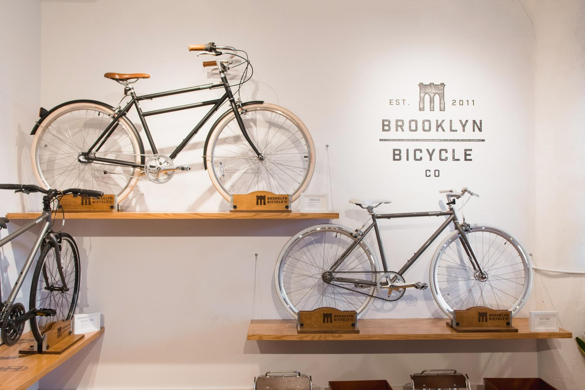 Bicycles displayed within the showroom by Brooklyn Bicycle Co.
