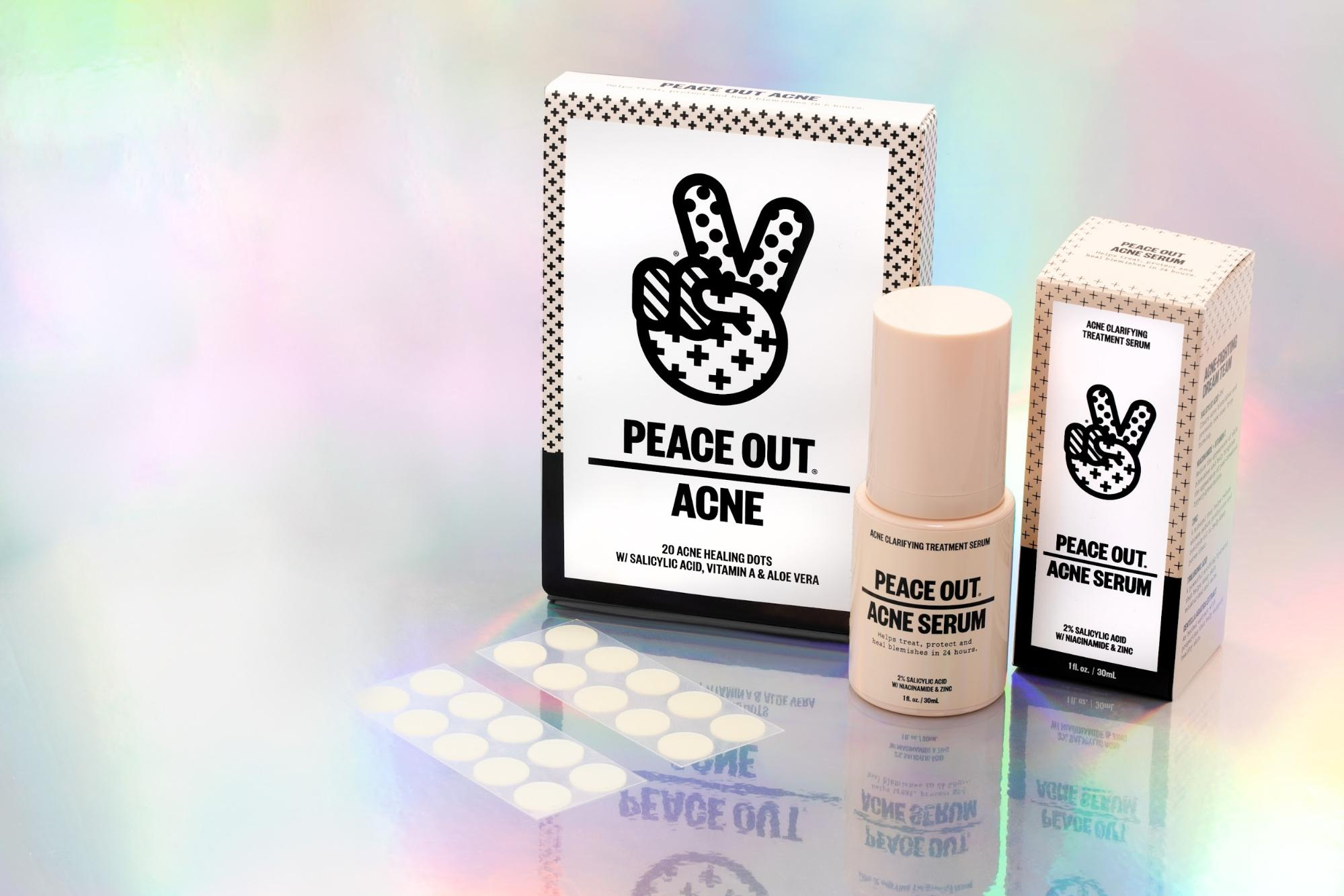 The Acne Healing Dots and Acne Serum from Peace Out Skincare against a holographic backdrop.
