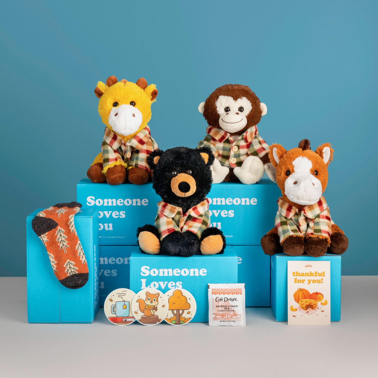 An array of stuffed animals, stickers, socks and cards from SendAFriend.