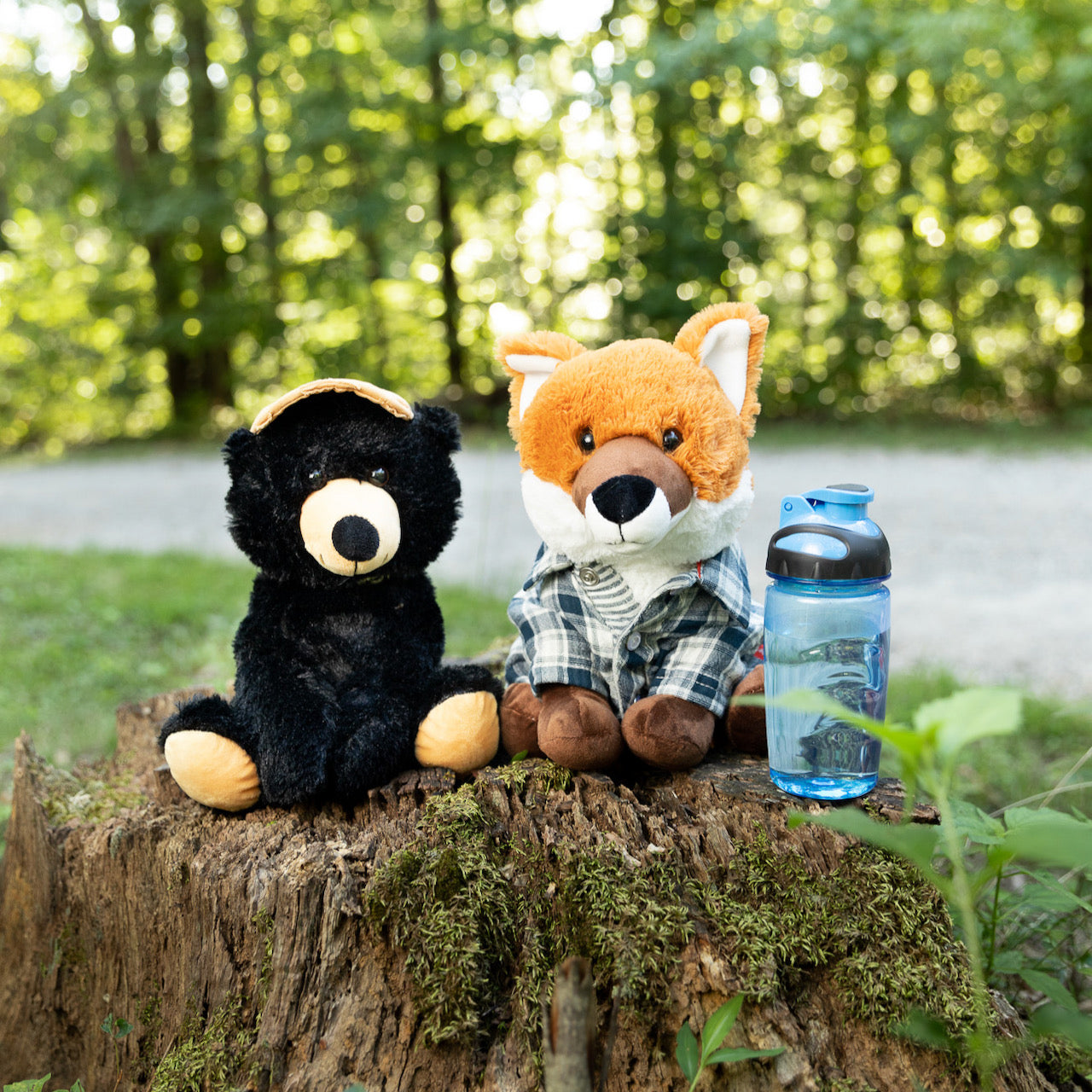 A pair of stuffed animals by SendAFriend backdropped by a forest.