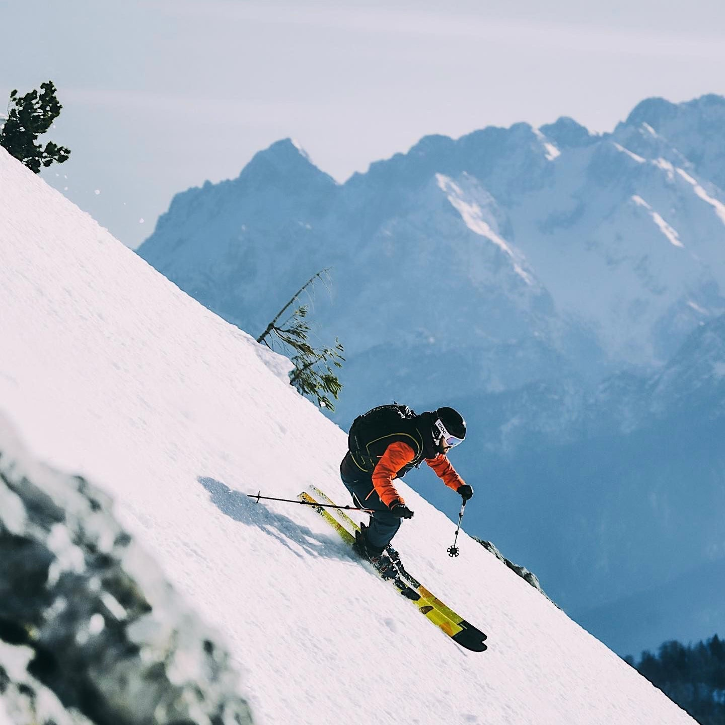 A skier in the backcountry using Hagan Ski Mountaineering gear.