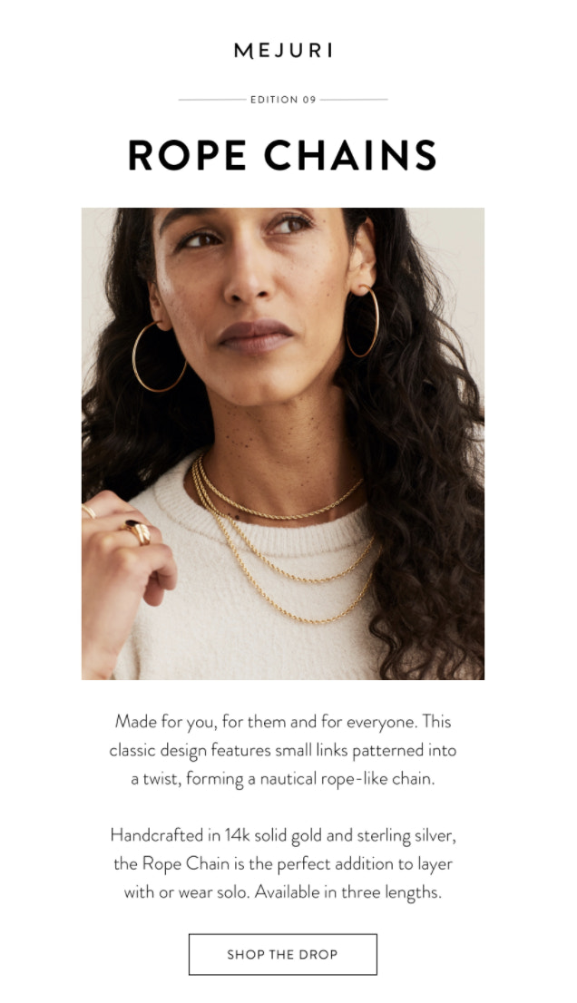Mejuri, a website that sells fine jewelry for everyday wear, launches new products that follow a design theme every single Monday.