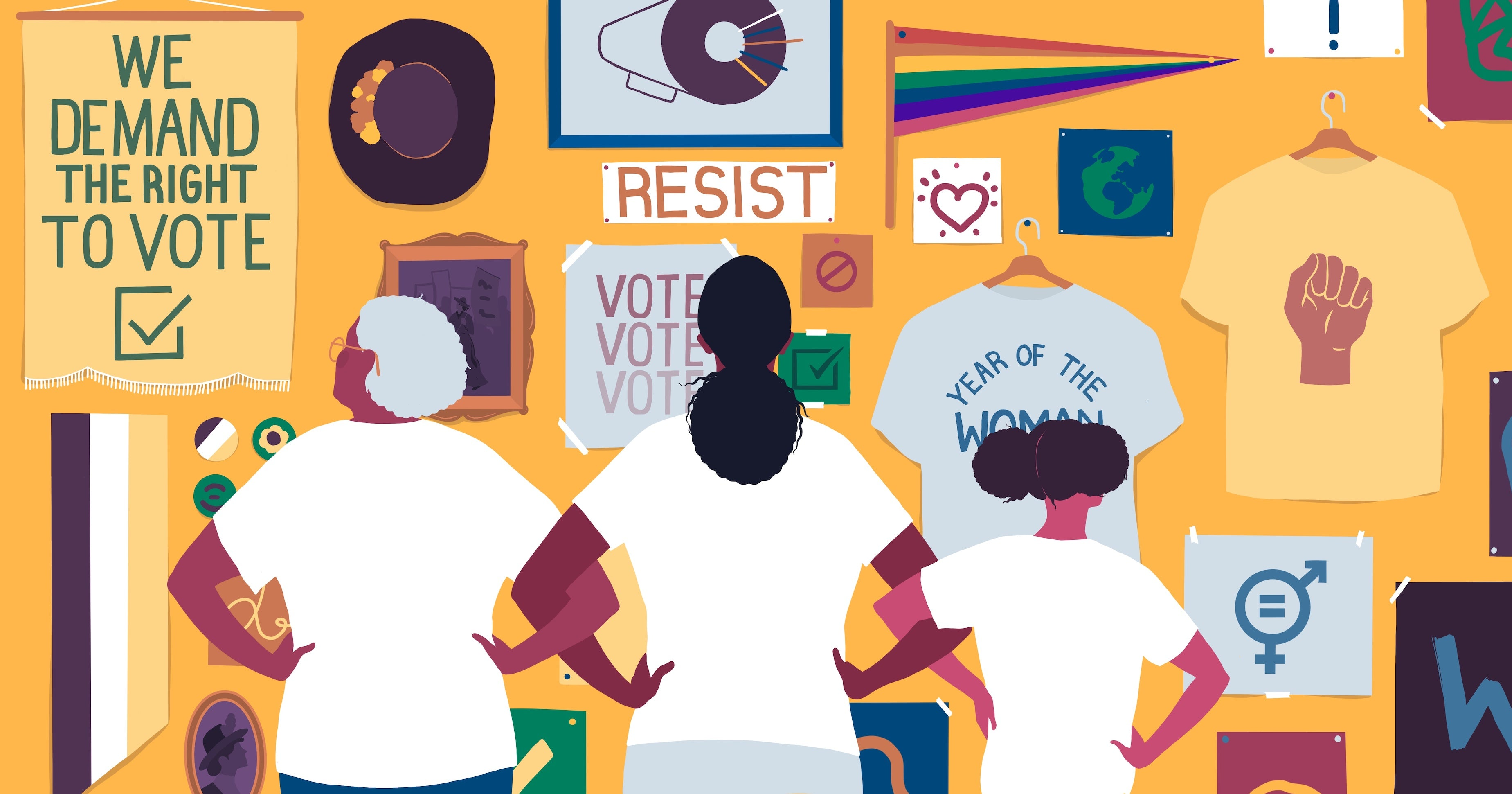 illustration of three women looking at a wall covered in protest posters