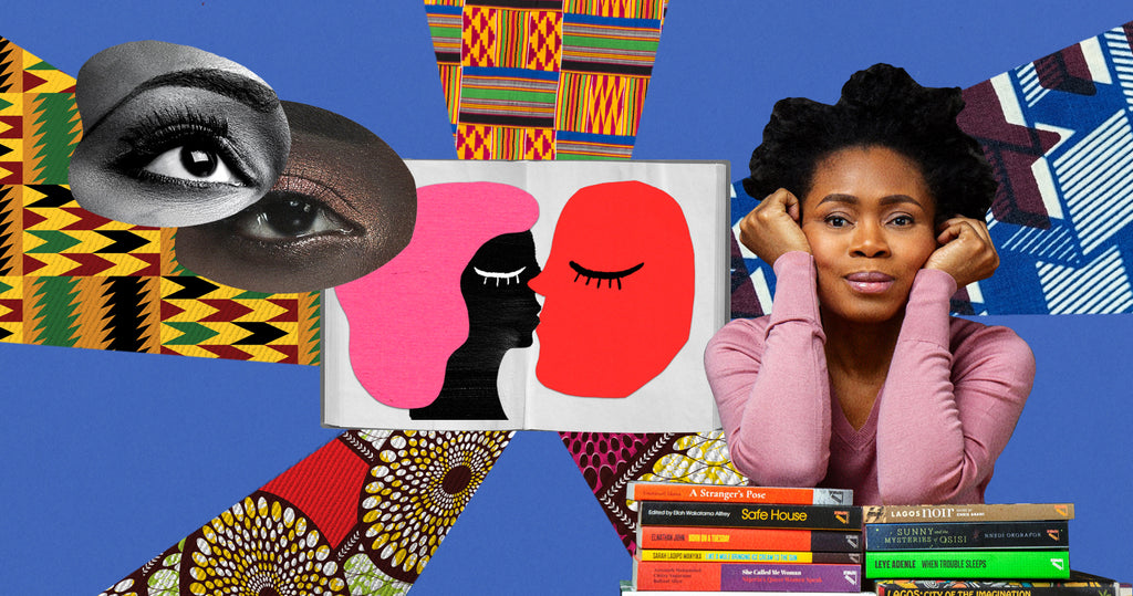 Photo collage of Bibi Bakare-Yusuf, the publishing director of Cassava Republic Press and Ankara Press. Behind Bibi are swatches of various African fabrics. In the middle of the frame is an open book, the pages have two illustrated faces on them, one black one red and they are kissing, to reflect the idea of romance novels.