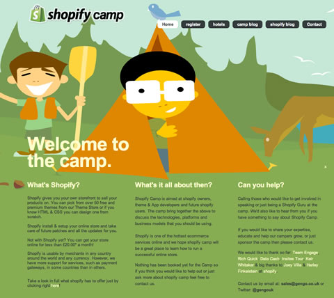 Screen capture of the Shopify Camp page (http://shopifycamp.co.uk)