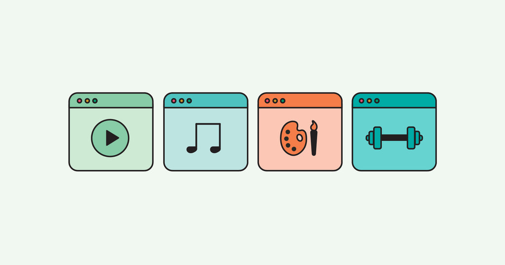 A series of digital products icons : music, video, art, fitness